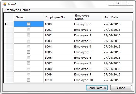 Adding Check Box to DataGridView Column without using
