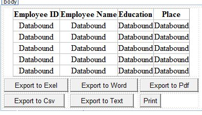 Export GridView Data to Excel, Word, Pdf, Text and Csv