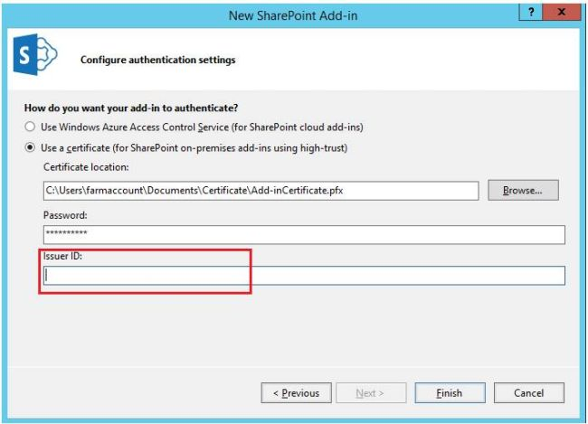Create Issuer ID for Provider Hosted Add-in in SharePoint 2016