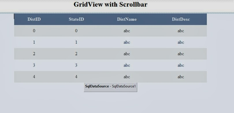 GridView with Scrollbars in ASP NET