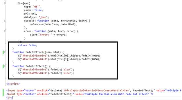 Multiple Partial With Fade In Fade Out Effect in MVC 5