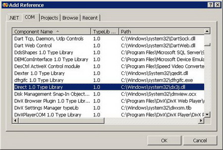 Figure 3. Adding Direct 1.0 Type Library to References