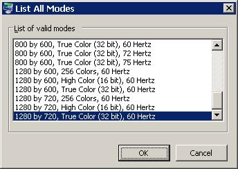 Figure 2. Listing All Display Modes Supported