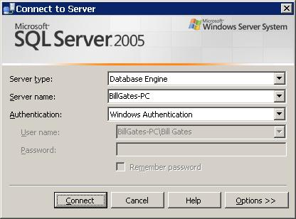 Figure 3 - Connect to Server dialog