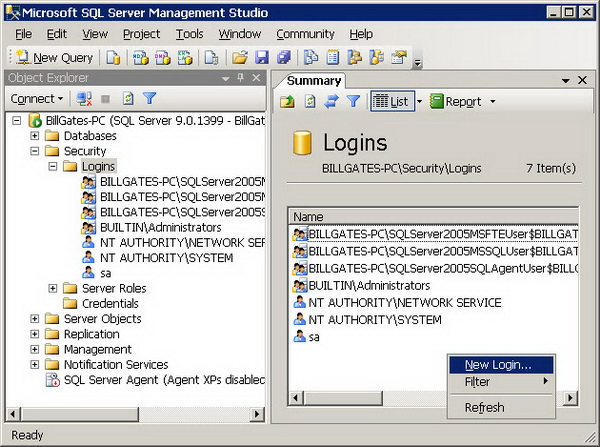 Figure 1 - Creating a Login