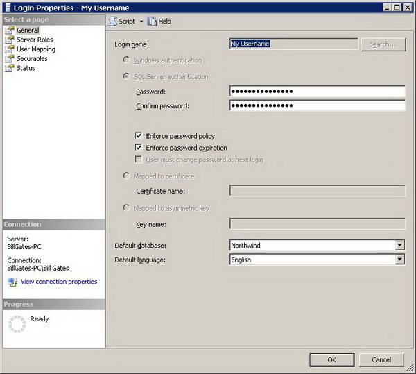 Figure 2 - Login Properties Dialog
