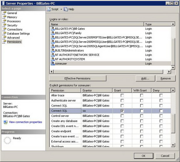 Figure 6 - Permissions page in Server Properties dialog
