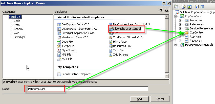 Fig 8. Add new Silverlight User Control in CusControl folder.jpg