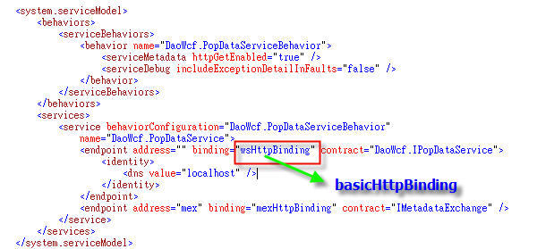Fig 14. Use basicHttpBinding for Silverlight-enabled WCF service.jpg