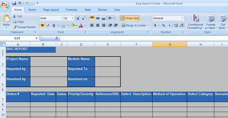 Defect tracking and reporting for Defect report template xls