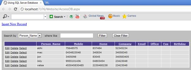 Contact Numbers (An E-Diary) Application in ASP.NET using SQL Server and Access Databases