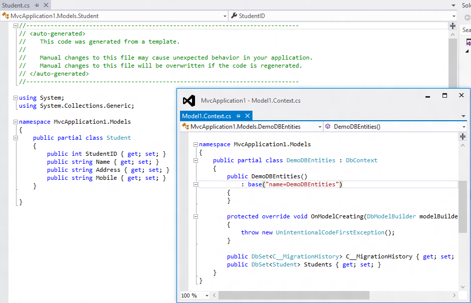 Entity framework code generation strategy disabled dating 1
