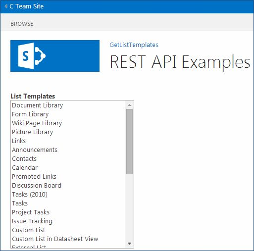 How to get all the list templates in sharepoint 2013 for Rest api documentation template