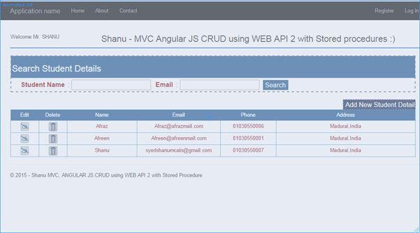 Mvc Angularjs Crud Using Web Api 2 With Stored Procedure