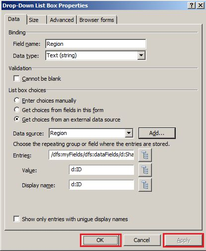Bind InfoPath 2010 Dropdown List With SharePoint 2016 List