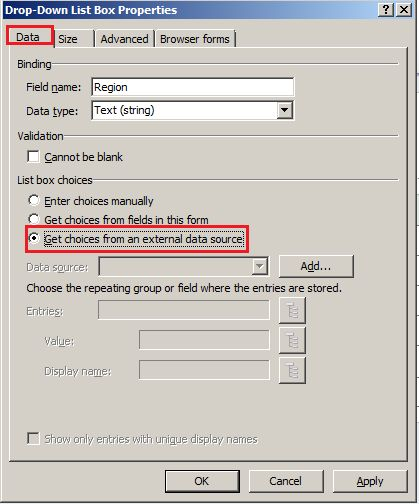 how to Bind InfoPath 2010 Dropdown List With SharePoint 2010 List