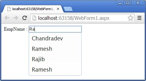 How to Create jQuery AutoComplete Textbox in ASP Net