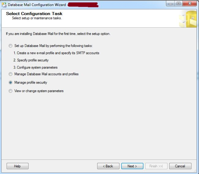 Configuration Task in Database Mail