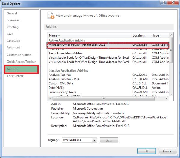 how to add powerpivot to excel 2013