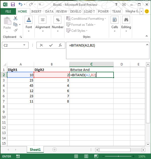 Bitwise And Function In Excel 2013