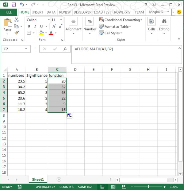 Floor math function in excel 2013 for Floor function example