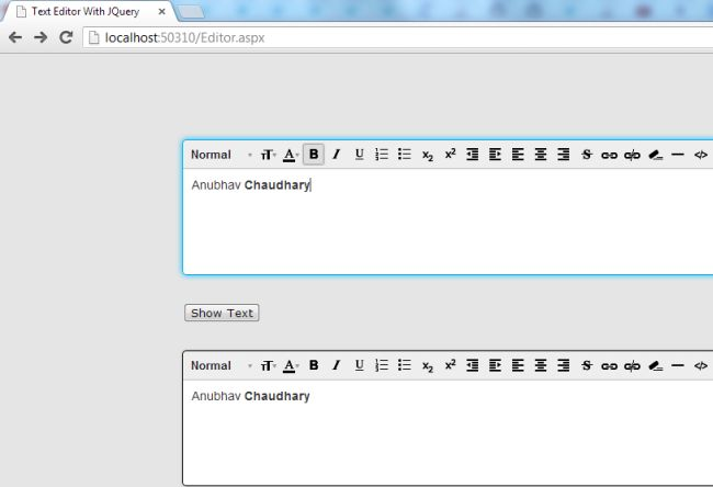 NET Issues: Creating Text Editor Using ASP Net and jQuery