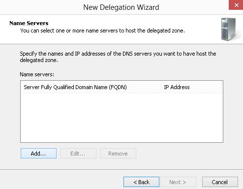 manually create delegation to dns server 2012