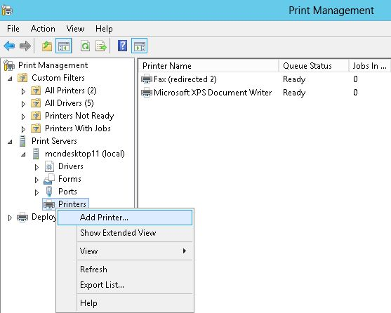 how to open print management windows 10