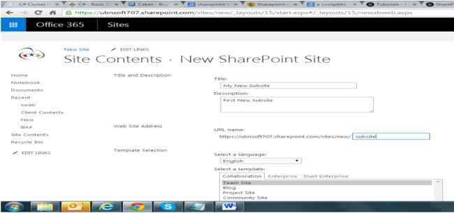 Creating A Subsite Within A Site In SharePoint 2013