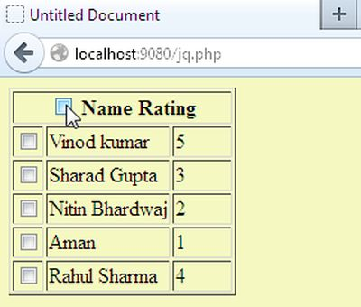 Select multiple checkboxes in php for Php table th td