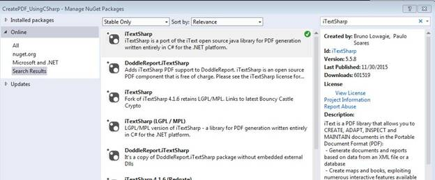 Generating PDF File Using C#