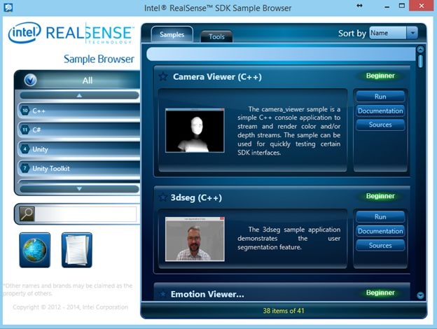 Intel Realsense SDK Sample Browser