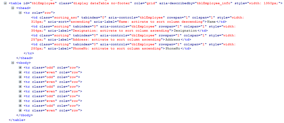 Jquery datatables in asp net mvc part 2 for Datatable css
