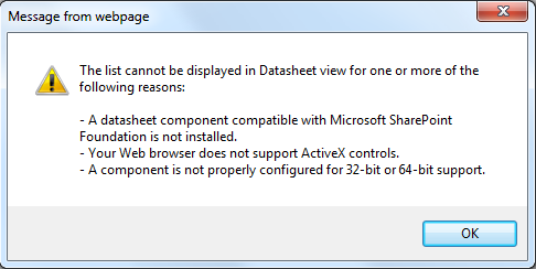 Enabling datasheet view in sharepoint 2010 - You cannot install the 32 bit version of office 2010 ...