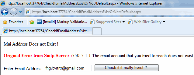 Check if Email Address Really Exist or not Using C#