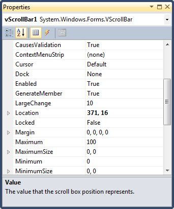 Vertical ScrollBar In C#