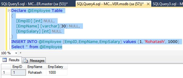 Creating various types of tables in sql server 2012 for Table variable in sql server