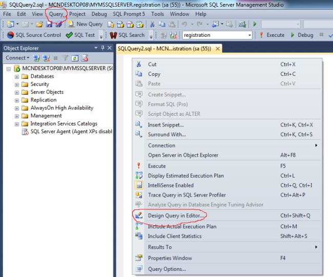 Developing and designing queries using query designer in for Sql table design query