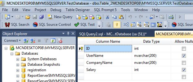 Determine the second highest and nth highest salary from a for Table design sql server