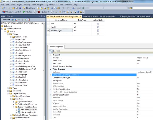 Create table with computed column in sql server for Table design sql server