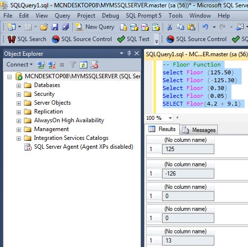 Mathematical numeric functions in sql server 2012 for Integer floor function
