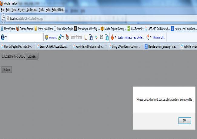 validate file extension in asp net using javascript