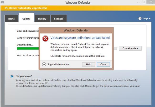 Microsoft Security Essentials - Definition Update fails