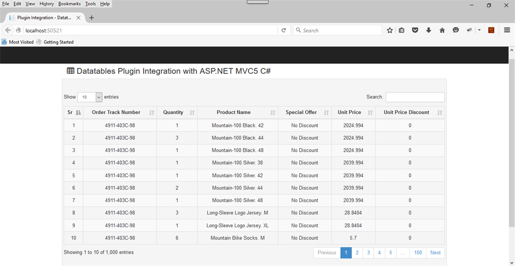 ASP NET MVC 5: Datatables Plugin Server Side Integration