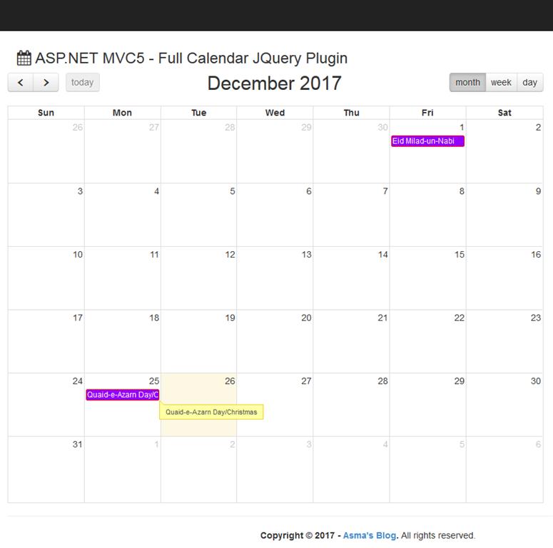 ASP NET MVC 5 - Full Calendar jQuery Plugin