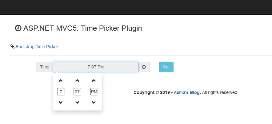 ASP NET MVC 5 - Time Picker Plugin