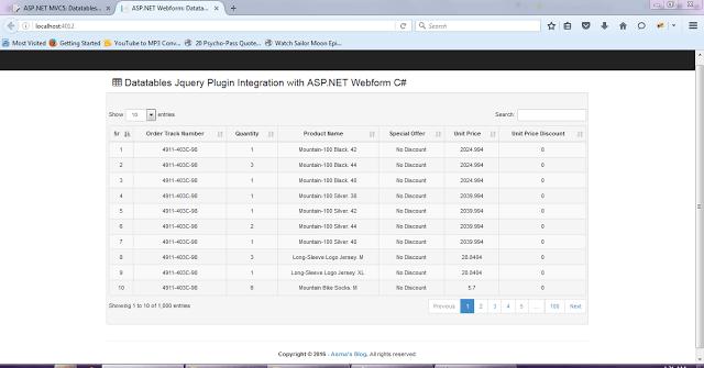 ASP NET Webform - Datatables JQuery plugin Server Side