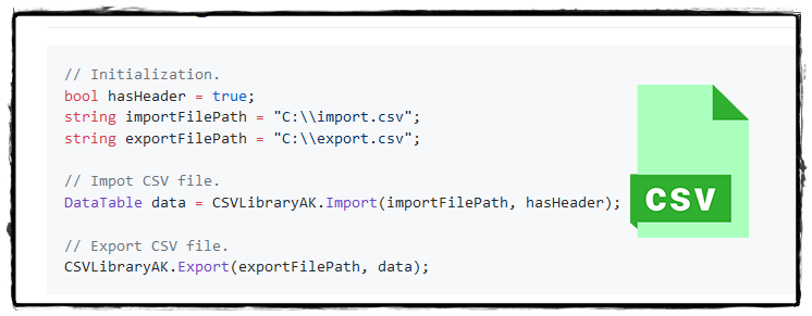 C# NET Import/Export CSV Library