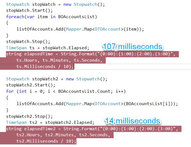 C# Performance Of Code - For Loop VS Foreach Loop