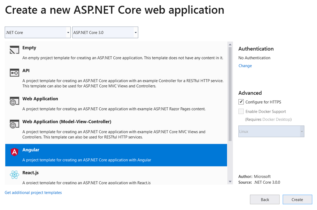 How to create an Angular 8 application with ASP.NET Core